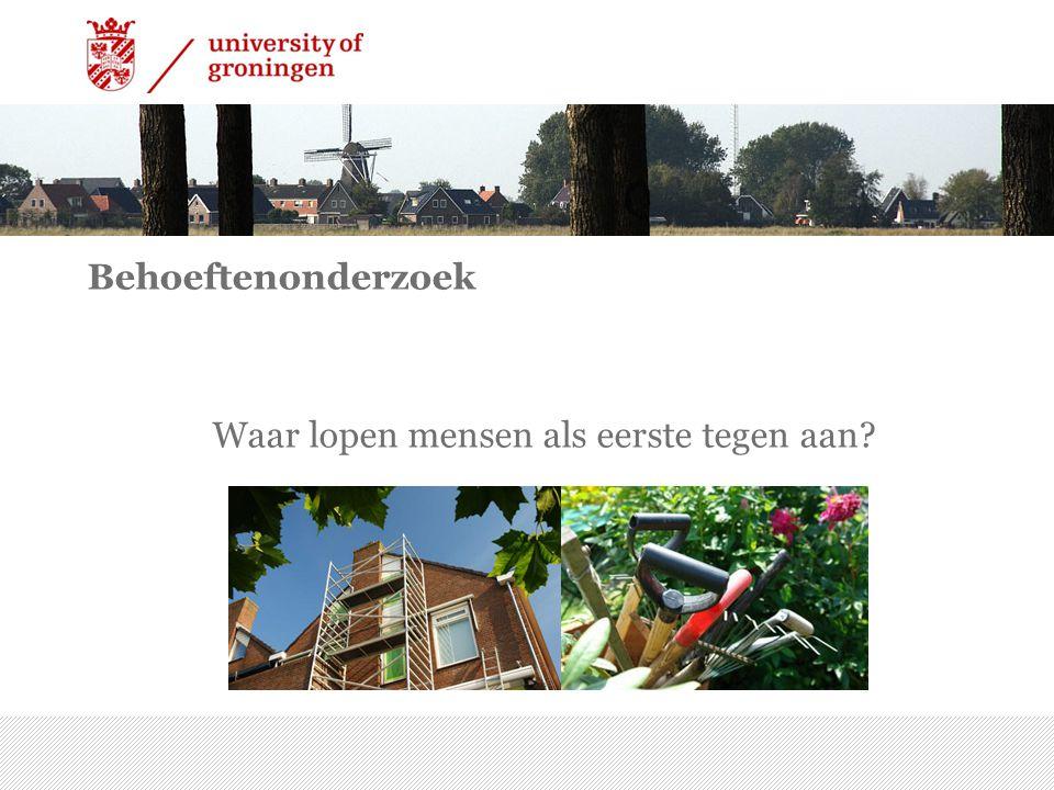 Behoeftenonderzoek Waar lopen mensen als eerste tegen aan 7/15/2014 | 25
