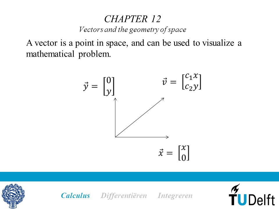 CHAPTER 12 Vectors and the geometry of space Calculus Differentiëren Integreren A vector is a point in space, and can be used to visualize a mathemati