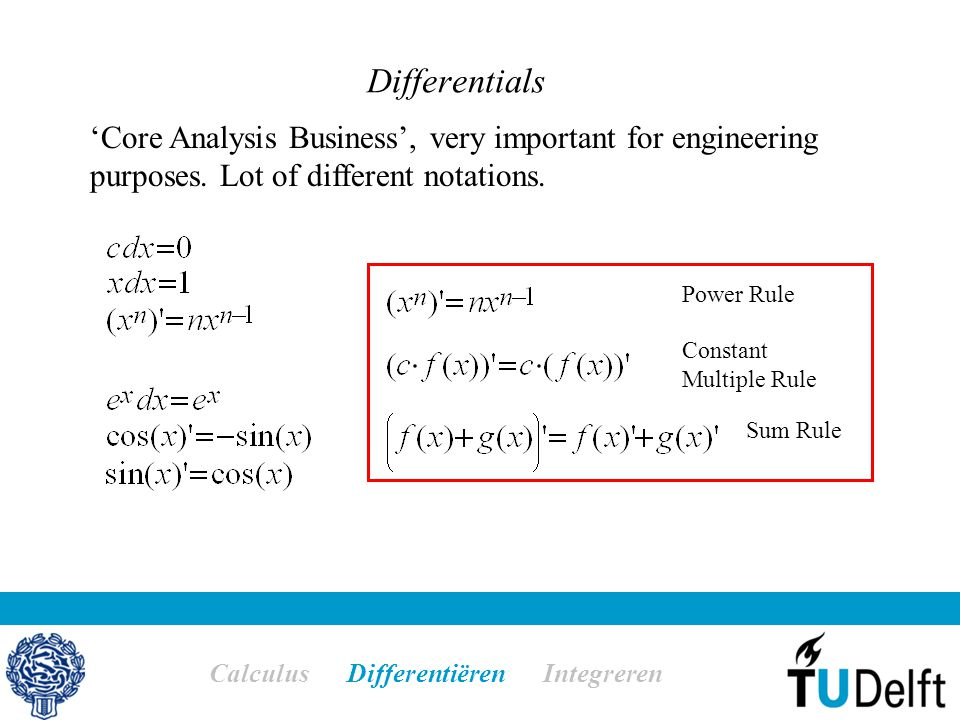 Differentials Calculus Differentiëren Integreren Power Rule Constant Multiple Rule Sum Rule 'Core Analysis Business', very important for engineering p