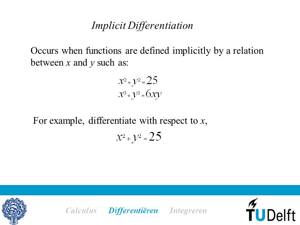 Implicit Differentiation Calculus Differentiëren Integreren Occurs when functions are defined implicitly by a relation between x and y such as: For ex