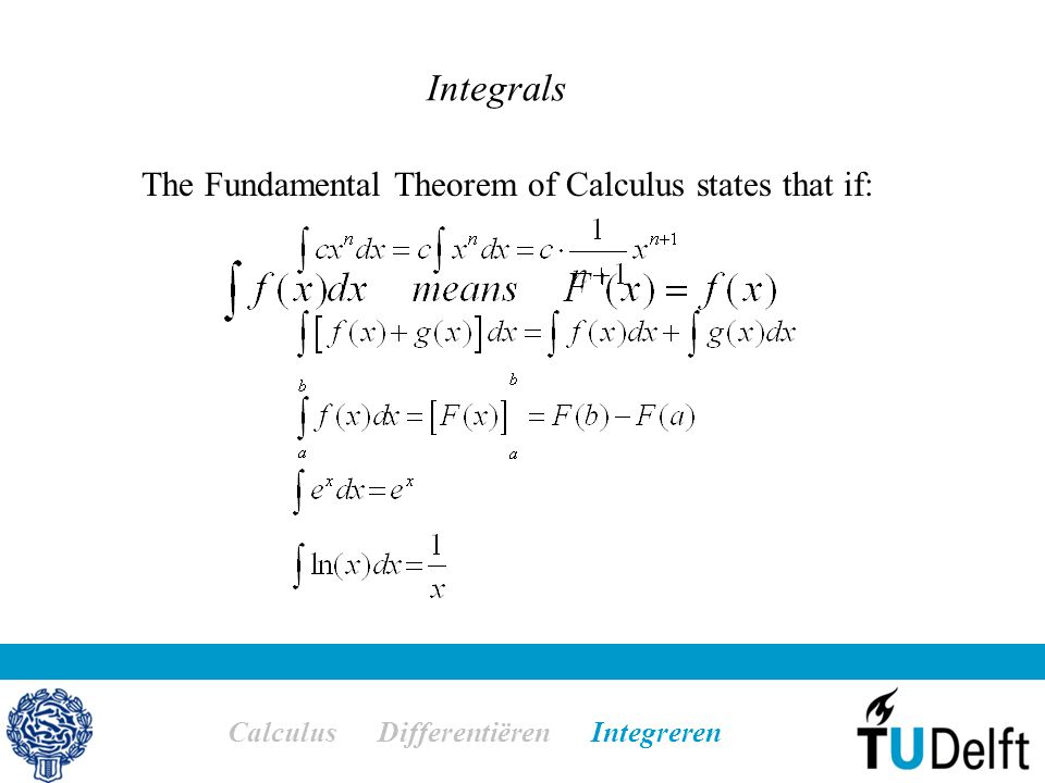 Integrals Calculus Differentiëren Integreren The Fundamental Theorem of Calculus states that if: