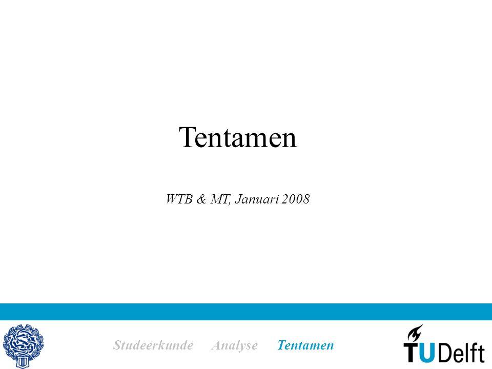 Tentamen WTB & MT, Januari 2008 Studeerkunde Analyse Tentamen