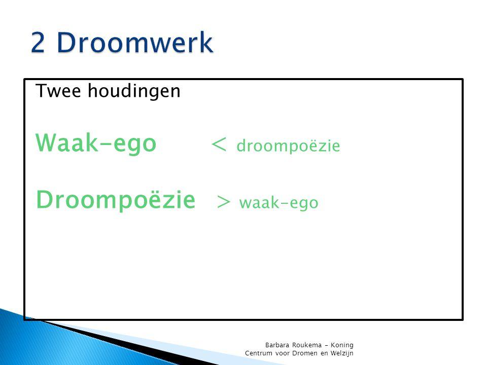 Twee houdingen Waak-ego < droompoëzie Droompoëzie > waak-ego Barbara Roukema - Koning Centrum voor Dromen en Welzijn