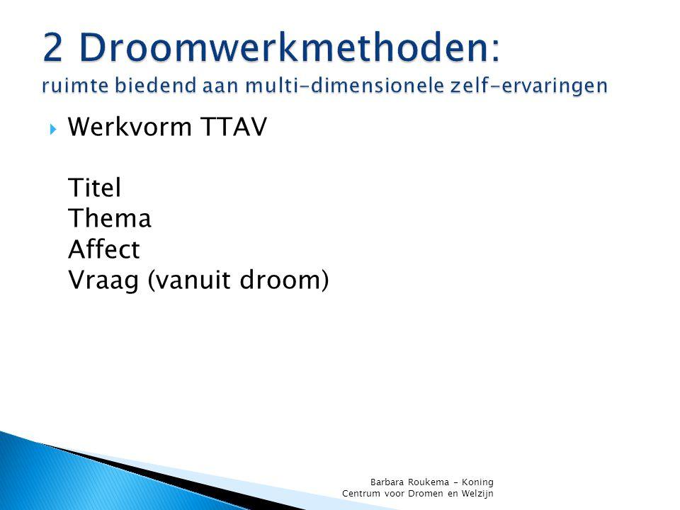  Werkvorm TTAV Titel Thema Affect Vraag (vanuit droom) Barbara Roukema - Koning Centrum voor Dromen en Welzijn