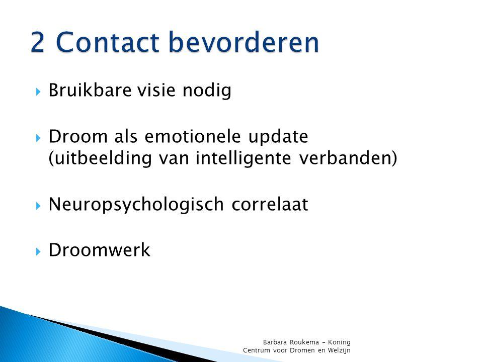  Bruikbare visie nodig  Droom als emotionele update (uitbeelding van intelligente verbanden)  Neuropsychologisch correlaat  Droomwerk Barbara Rouk