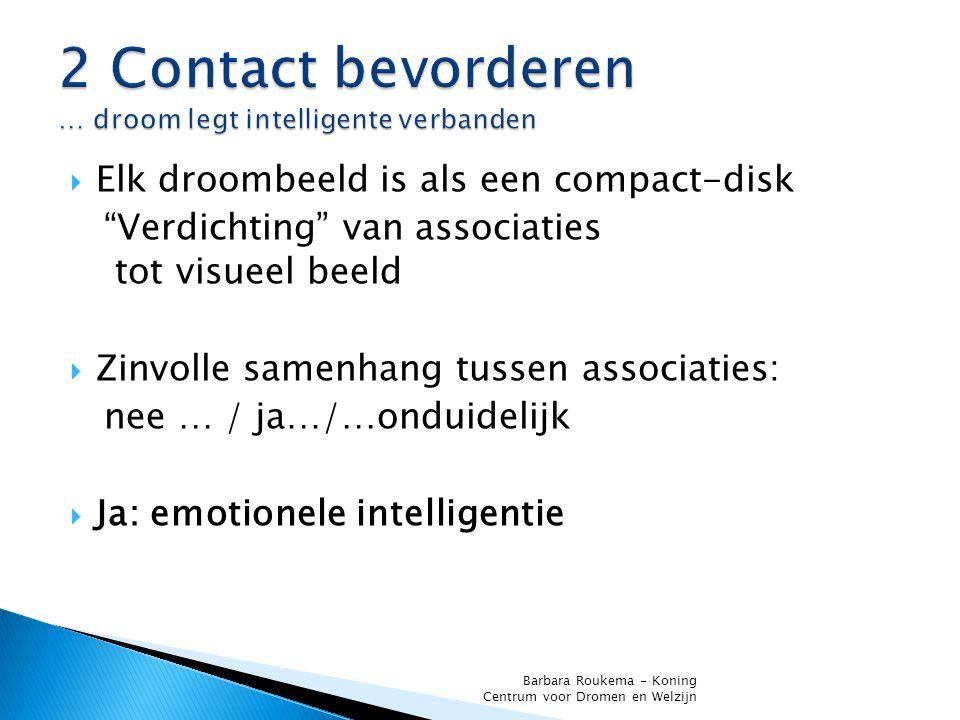  Elk droombeeld is als een compact-disk Verdichting van associaties tot visueel beeld  Zinvolle samenhang tussen associaties: nee … / ja…/…onduidelijk  Ja: emotionele intelligentie Barbara Roukema - Koning Centrum voor Dromen en Welzijn