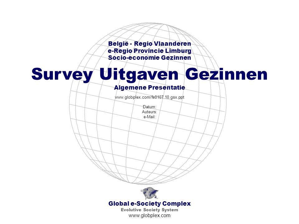 Global e-Society Complex Evolutive Society System www.globplex.com België - Regio Vlaanderen e-Regio Provincie Limburg Socio-economie Gezinnen Survey Uitgaven Gezinnen Algemene Presentatie www.globplex.com/fe0107.10.gsx.ppt Datum: Auteurs: e-Mail: