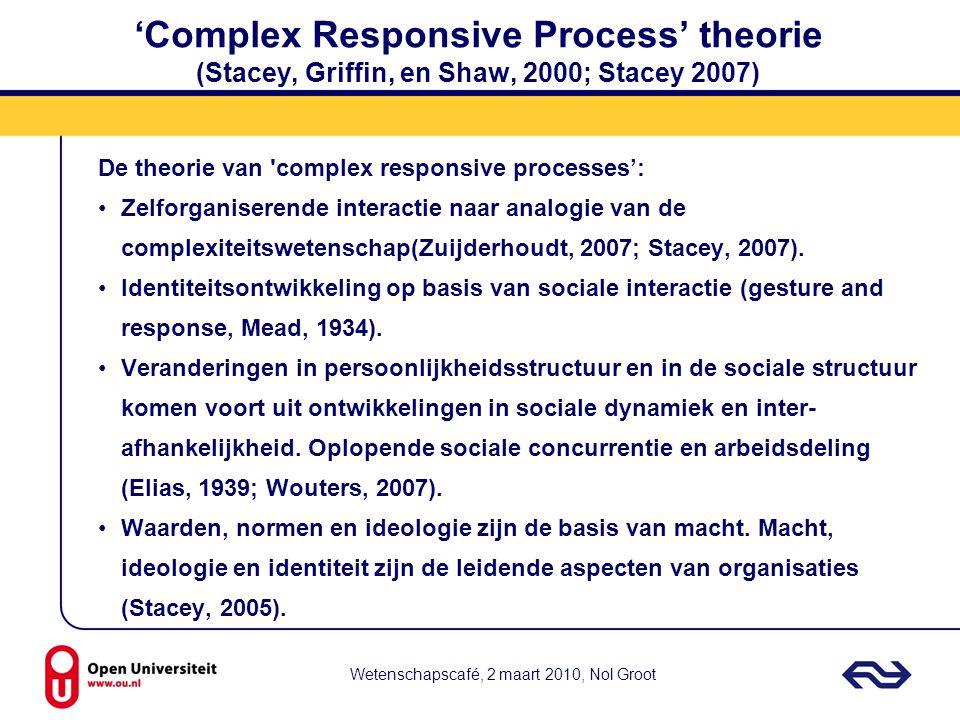 Wetenschapscafé, 2 maart 2010, Nol Groot 'Complex Responsive Process' theorie (Stacey, Griffin, en Shaw, 2000; Stacey 2007) De theorie van 'complex re