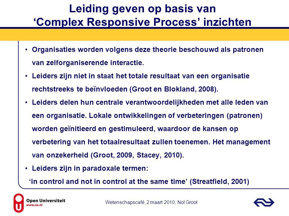 Wetenschapscafé, 2 maart 2010, Nol Groot Leiding geven op basis van 'Complex Responsive Process' inzichten Organisaties worden volgens deze theorie be