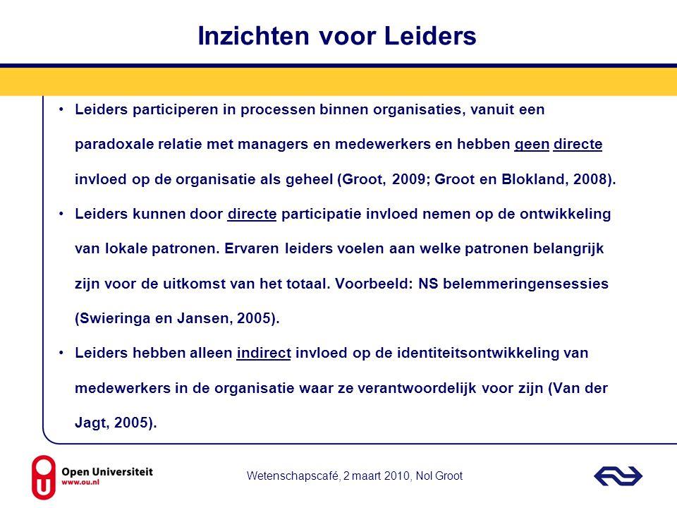Wetenschapscafé, 2 maart 2010, Nol Groot Inzichten voor Leiders Leiders participeren in processen binnen organisaties, vanuit een paradoxale relatie m