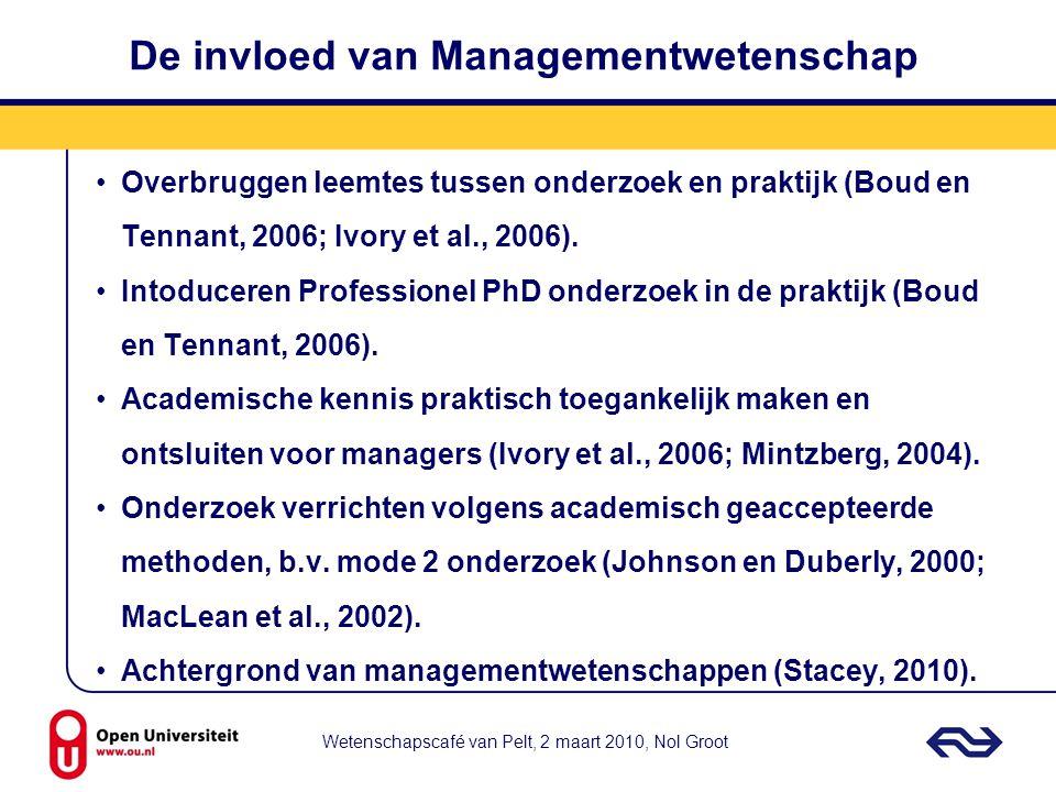 De invloed van Managementwetenschap Overbruggen leemtes tussen onderzoek en praktijk (Boud en Tennant, 2006; Ivory et al., 2006). Intoduceren Professi
