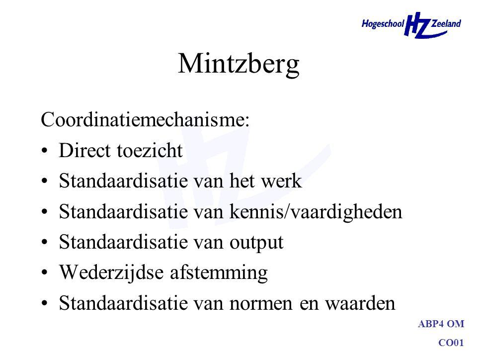 ABP4 OM CO01 Mintzberg Coordinatiemechanisme: Direct toezicht Standaardisatie van het werk Standaardisatie van kennis/vaardigheden Standaardisatie van
