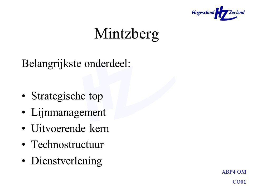 ABP4 OM CO01 Mintzberg Belangrijkste onderdeel: Strategische top Lijnmanagement Uitvoerende kern Technostructuur Dienstverlening