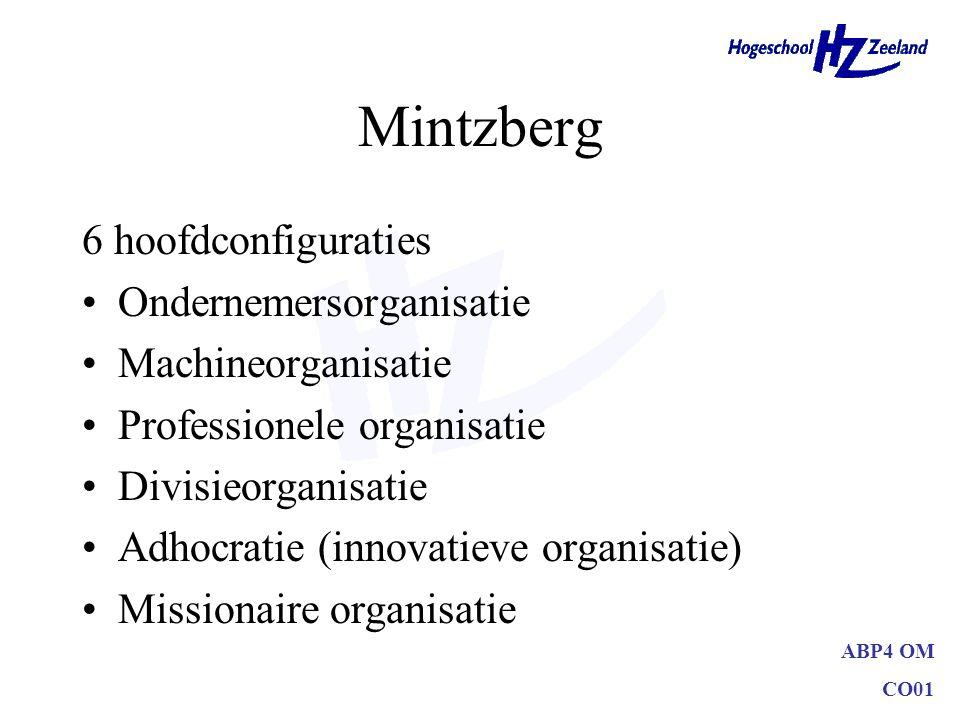 ABP4 OM CO01 Mintzberg 6 hoofdconfiguraties Ondernemersorganisatie Machineorganisatie Professionele organisatie Divisieorganisatie Adhocratie (innovat