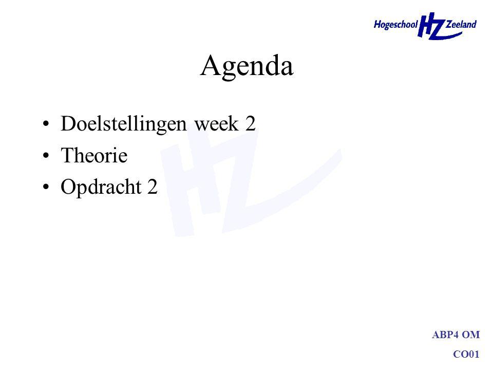 ABP4 OM CO01 Agenda Doelstellingen week 2 Theorie Opdracht 2