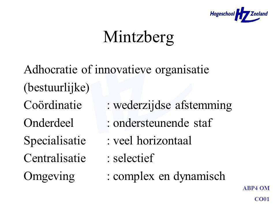 ABP4 OM CO01 Mintzberg Adhocratie of innovatieve organisatie (bestuurlijke) Coördinatie: wederzijdse afstemming Onderdeel: ondersteunende staf Special