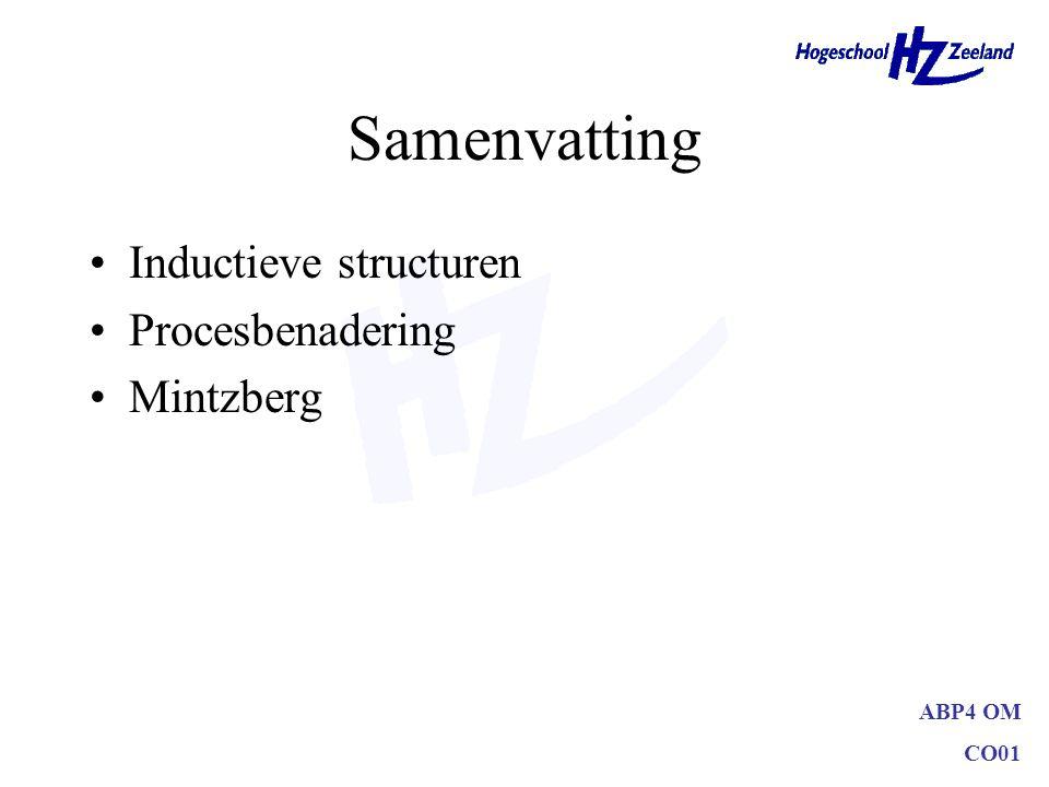 ABP4 OM CO01 Samenvatting Inductieve structuren Procesbenadering Mintzberg