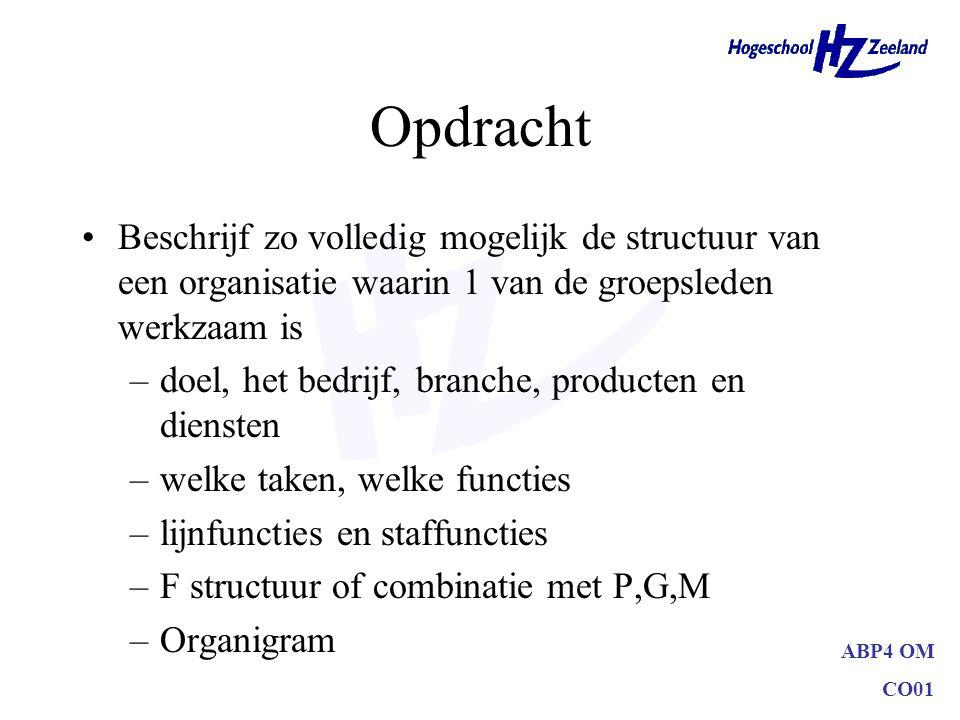 ABP4 OM CO01 Opdracht Beschrijf zo volledig mogelijk de structuur van een organisatie waarin 1 van de groepsleden werkzaam is –doel, het bedrijf, bran