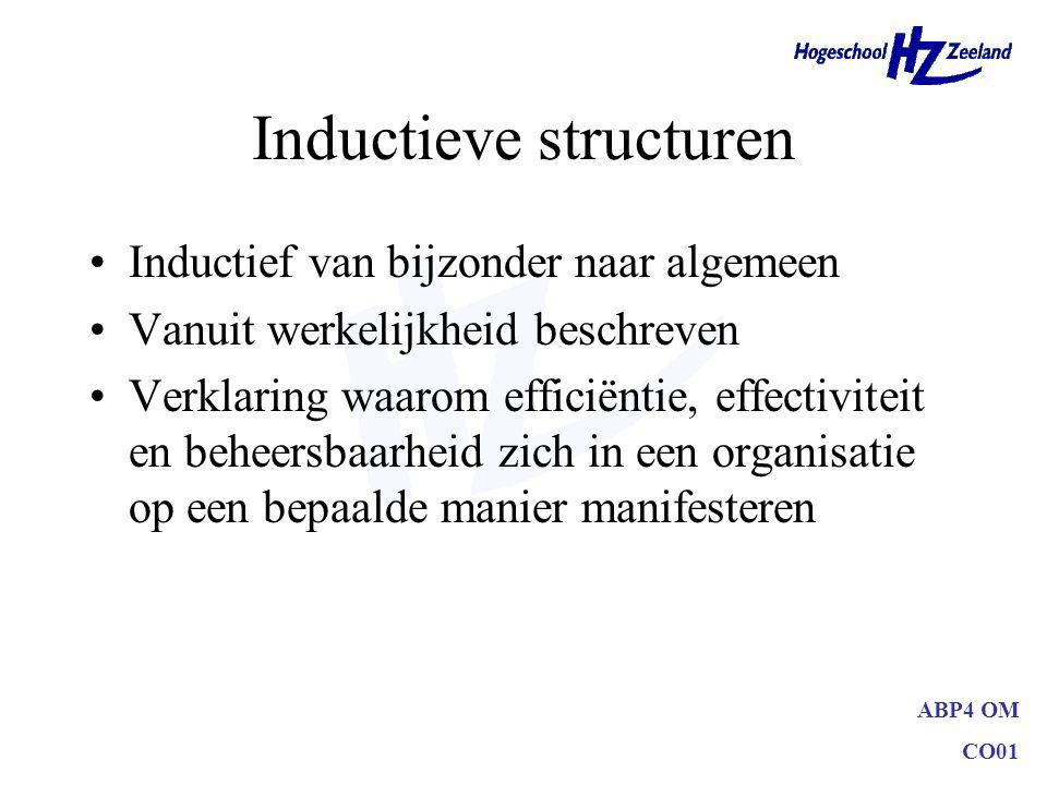 ABP4 OM CO01 Inductieve structuren Inductief van bijzonder naar algemeen Vanuit werkelijkheid beschreven Verklaring waarom efficiëntie, effectiviteit