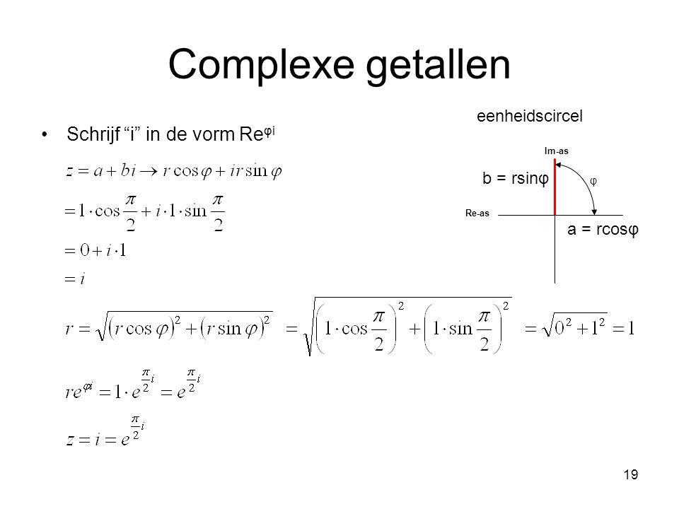"""19 Complexe getallen Schrijf """"i"""" in de vorm Re φi φ Im-as Re-as a = rcosφ b = rsinφ eenheidscircel"""