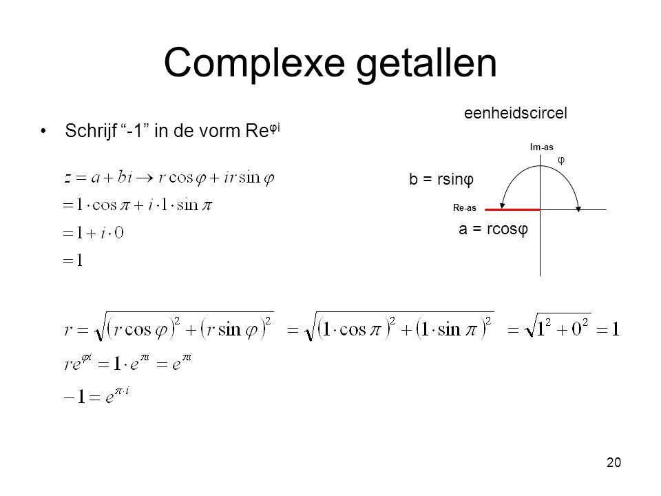 """20 Complexe getallen Schrijf """"-1"""" in de vorm Re φi φ Im-as Re-as a = rcosφ b = rsinφ eenheidscircel"""