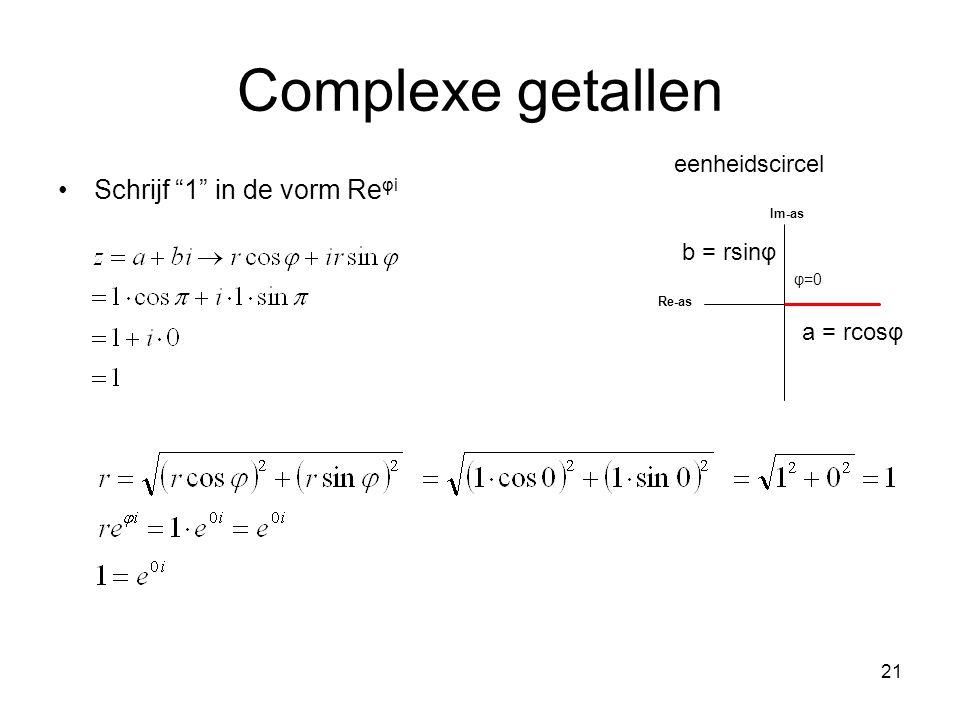 """21 Complexe getallen Schrijf """"1"""" in de vorm Re φi φ=0 Im-as Re-as a = rcosφ b = rsinφ eenheidscircel"""