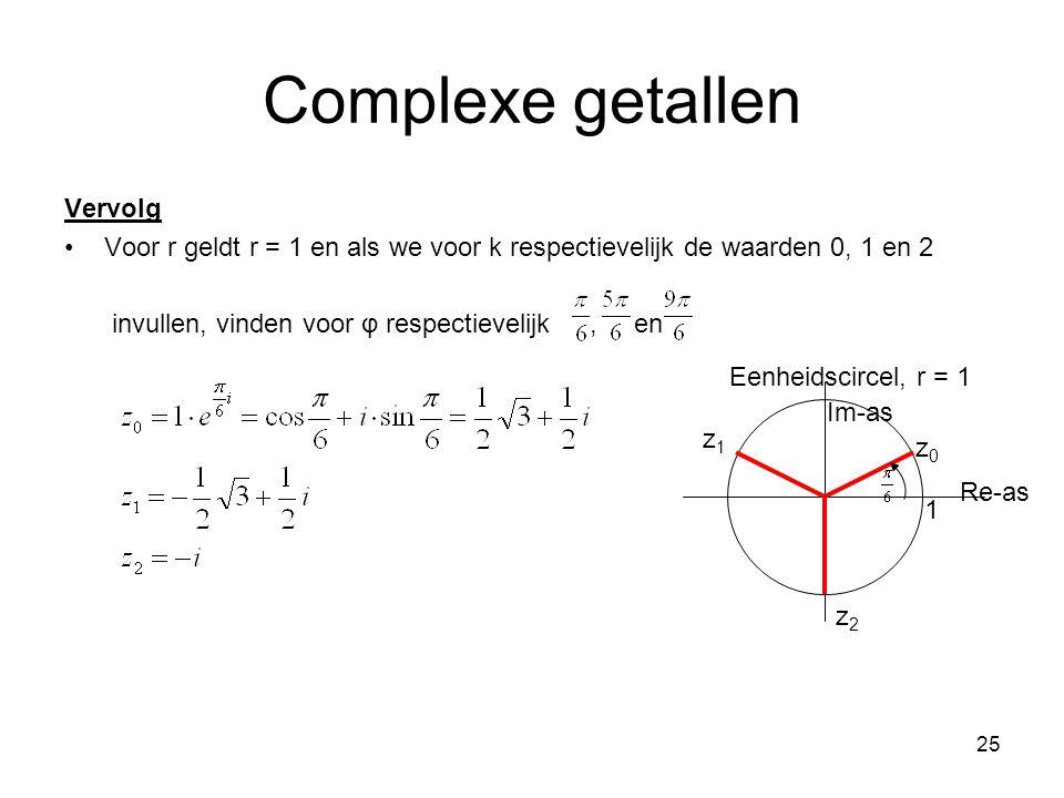 25 Complexe getallen Vervolg Voor r geldt r = 1 en als we voor k respectievelijk de waarden 0, 1 en 2 invullen, vinden voor φ respectievelijk, en Eenh