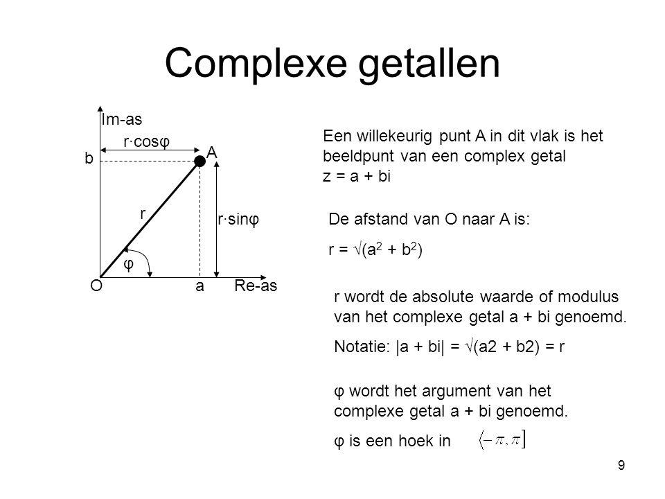 9 Complexe getallen Re-as Im-as r φ A r∙cosφ r∙sinφ a b O Een willekeurig punt A in dit vlak is het beeldpunt van een complex getal z = a + bi De afst
