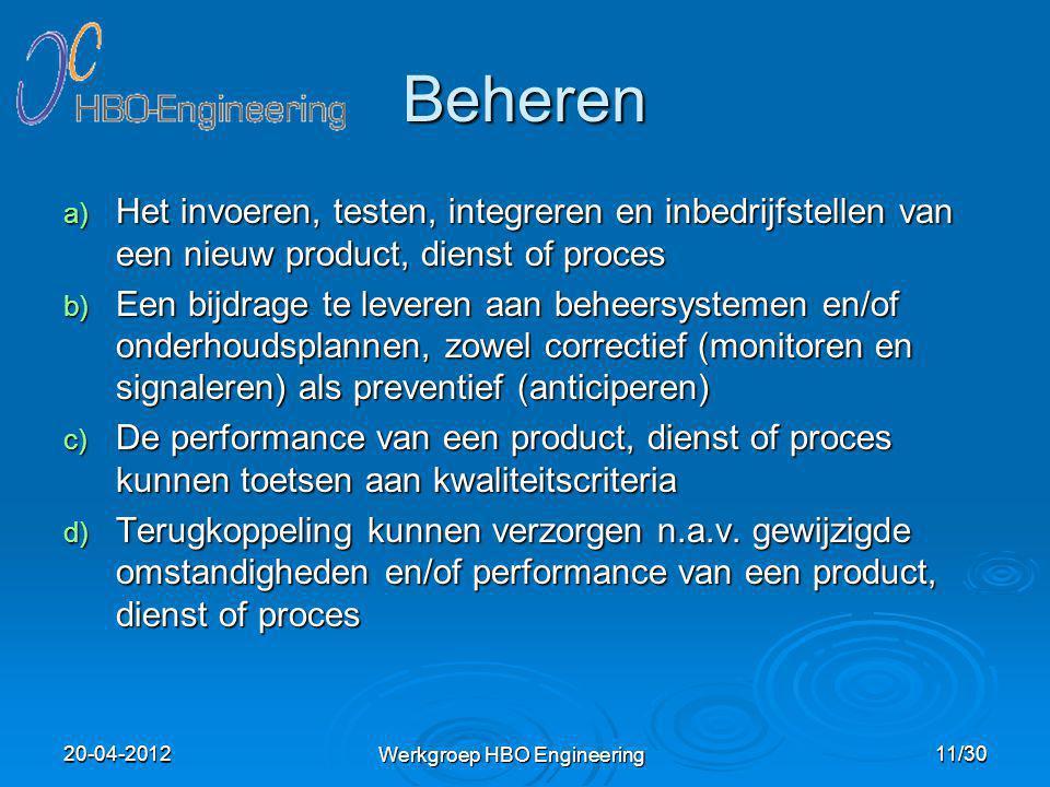 Beheren a) Het invoeren, testen, integreren en inbedrijfstellen van een nieuw product, dienst of proces b) Een bijdrage te leveren aan beheersystemen