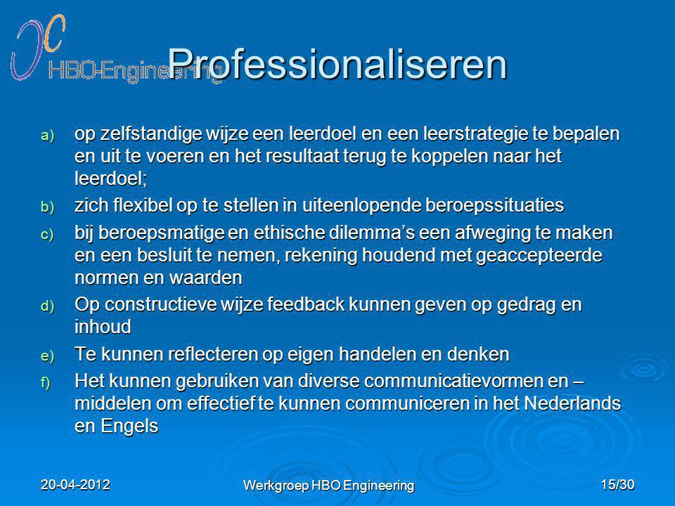 Professionaliseren a) op zelfstandige wijze een leerdoel en een leerstrategie te bepalen en uit te voeren en het resultaat terug te koppelen naar het