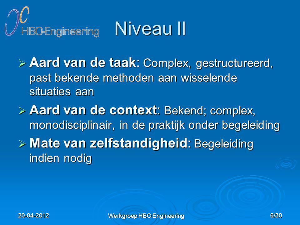 Niveau III  Aard van de taak: Complex, ongestructureerd, verbetert methoden en past normen aan de situaties aan  Aard van de context: Onbekend; complex, multidisciplinair in de praktijk  Mate van zelfstandigheid: Zelfstandig Werkgroep HBO Engineering 7/3020-04-2012