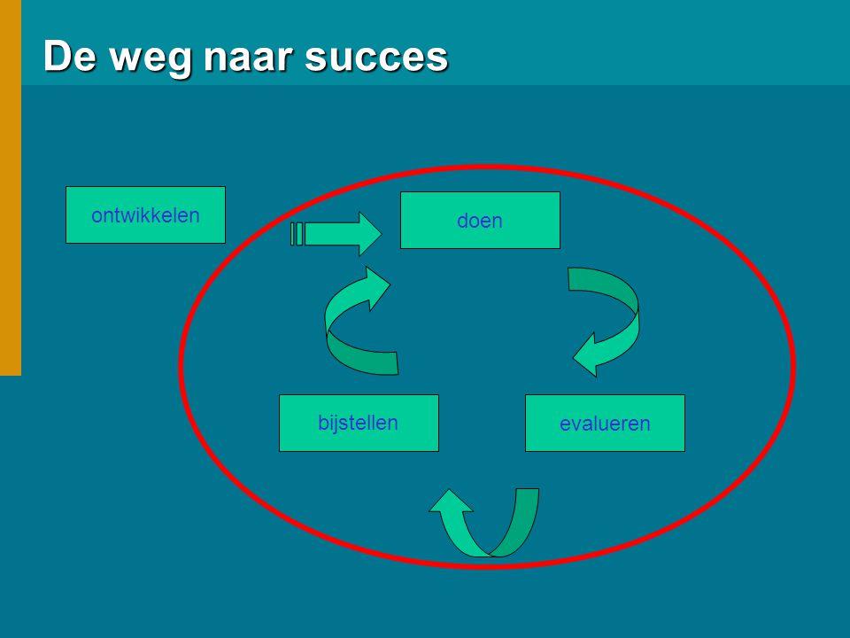 De weg naar succes ontwikkelen evalueren doen bijstellen
