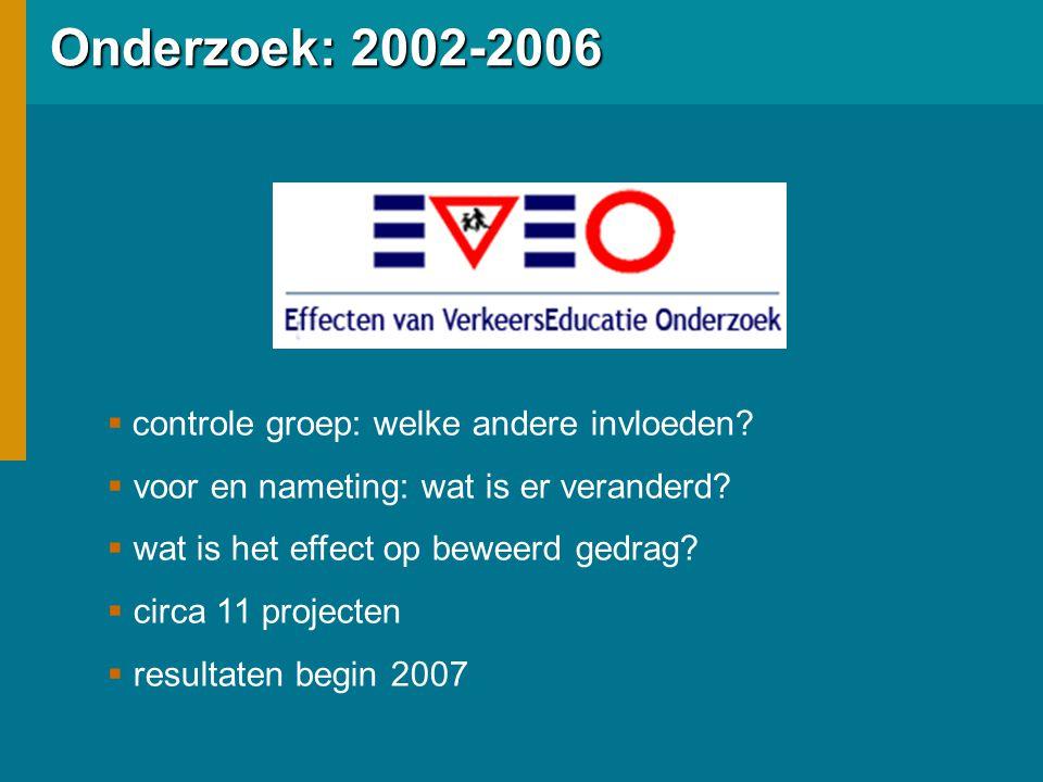 Onderzoek: 2002-2006  controle groep: welke andere invloeden.