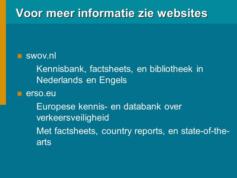 Voor meer informatie zie websites swov.nl Kennisbank, factsheets, en bibliotheek in Nederlands en Engels erso.eu Europese kennis- en databank over verkeersveiligheid Met factsheets, country reports, en state-of-the- arts