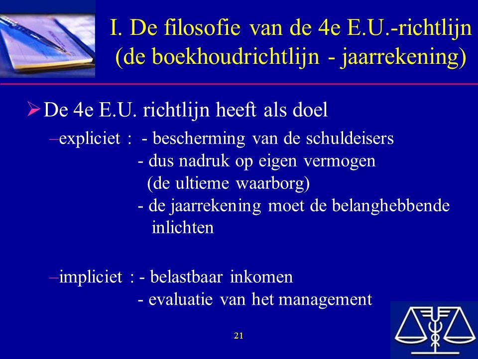 21 I. De filosofie van de 4e E.U.-richtlijn (de boekhoudrichtlijn - jaarrekening)  De 4e E.U. richtlijn heeft als doel –expliciet : - bescherming van
