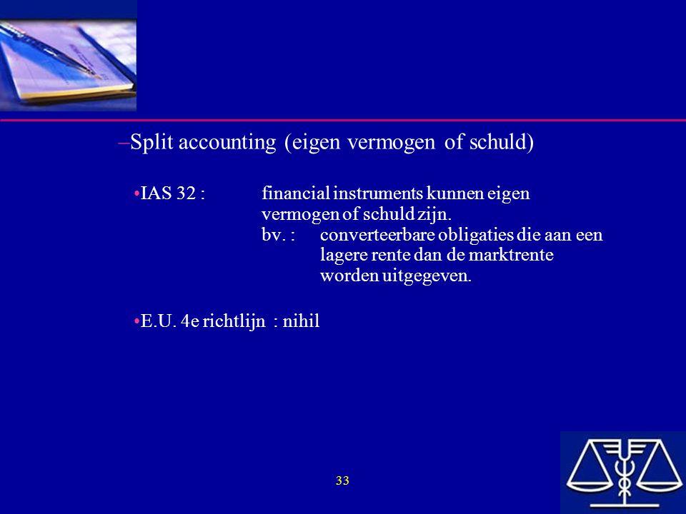 33 –Split accounting (eigen vermogen of schuld) IAS 32 :financial instruments kunnen eigen vermogen of schuld zijn. bv. :converteerbare obligaties die