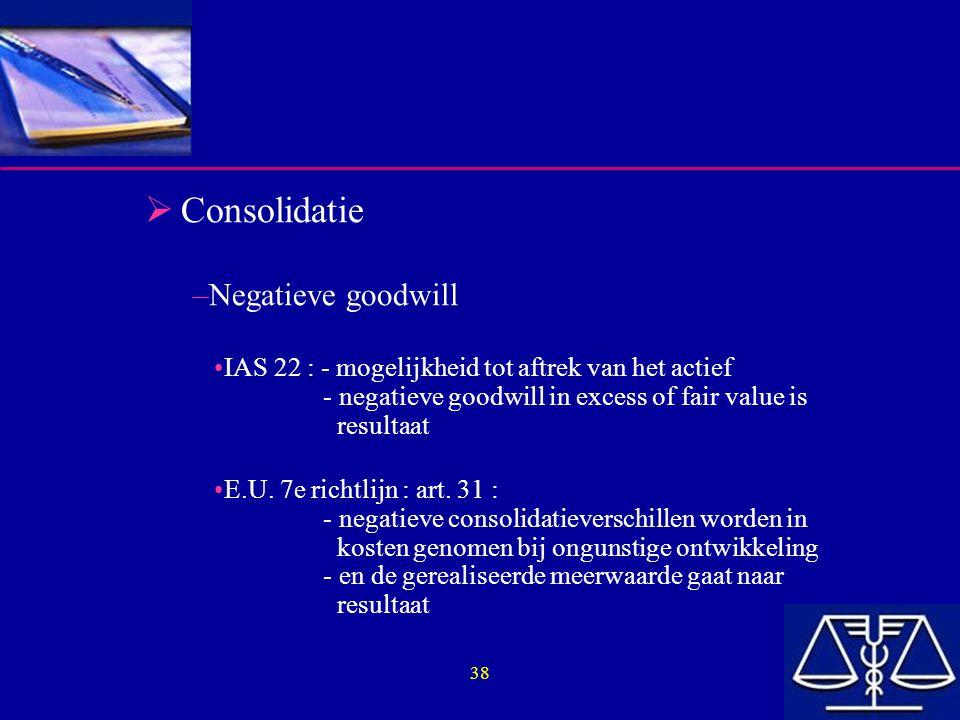 38  Consolidatie –Negatieve goodwill IAS 22 : - mogelijkheid tot aftrek van het actief - negatieve goodwill in excess of fair value is resultaat E.U.