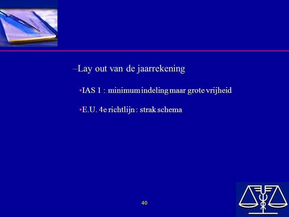 40 –Lay out van de jaarrekening IAS 1 :minimum indeling maar grote vrijheid E.U. 4e richtlijn : strak schema