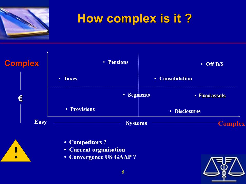 6 How complex is it ? Complex € Complex € Pensions Taxes Off-B/S Consolidation Segments Provisions Disclosures Easy Systems Complex Competitors ? Curr