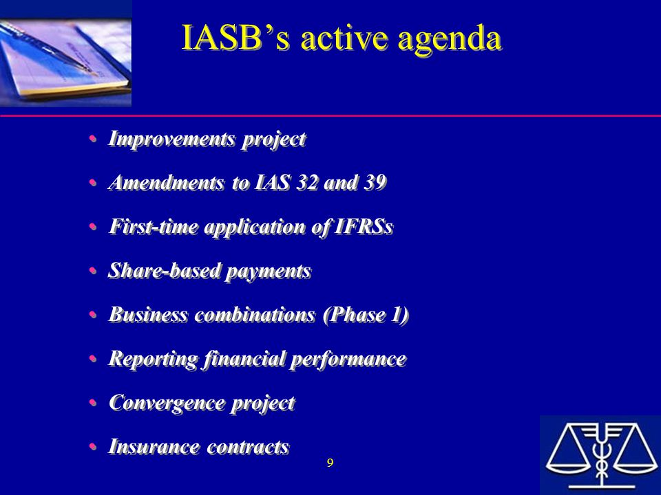 10 IAS and the EU Key terms of the EU Regulation: Adoption of IAS mandatory for listed EU companies at the latest by 2005 (for consolidated F/S) Option for member states to require OR permit the adoption of IAS for private companies and/or for unconsolidated F/S Creation of an EU « endorsement mechanism » to adopt  existing standards (by December 31, 2002)  new standards (as and when issued)