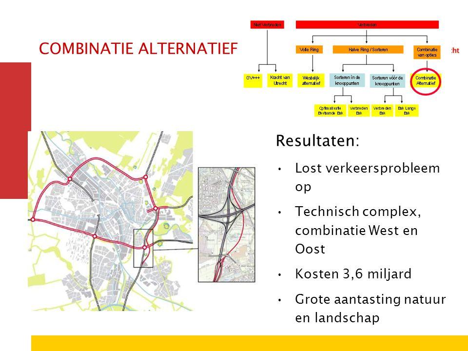 COMBINATIE ALTERNATIEF Resultaten: Lost verkeersprobleem op Technisch complex, combinatie West en Oost Kosten 3,6 miljard Grote aantasting natuur en l