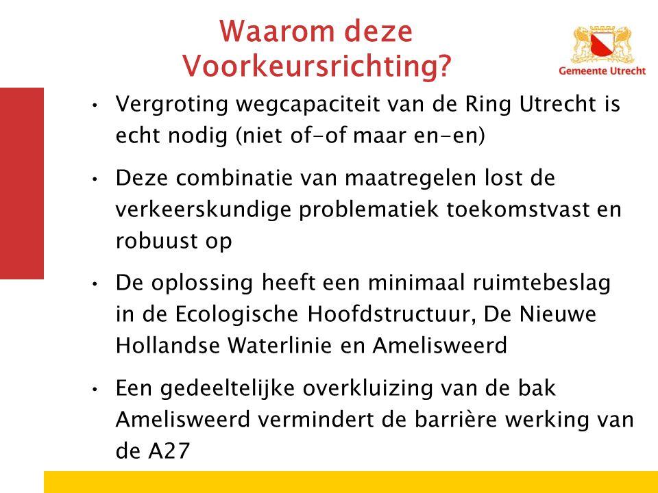 Waarom deze Voorkeursrichting? Vergroting wegcapaciteit van de Ring Utrecht is echt nodig (niet of-of maar en-en) Deze combinatie van maatregelen lost