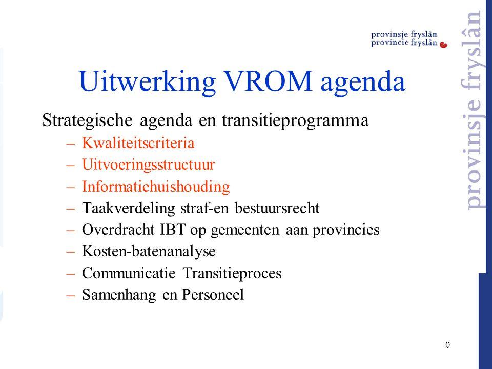 0 Uitwerking VROM agenda Strategische agenda en transitieprogramma –Kwaliteitscriteria –Uitvoeringsstructuur –Informatiehuishouding –Taakverdeling str