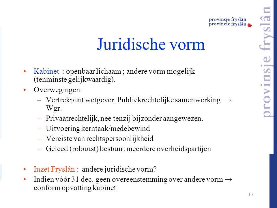 17 Juridische vorm Kabinet : openbaar lichaam ; andere vorm mogelijk (tenminste gelijkwaardig). Overwegingen: –Vertrekpunt wetgever: Publiekrechtelijk