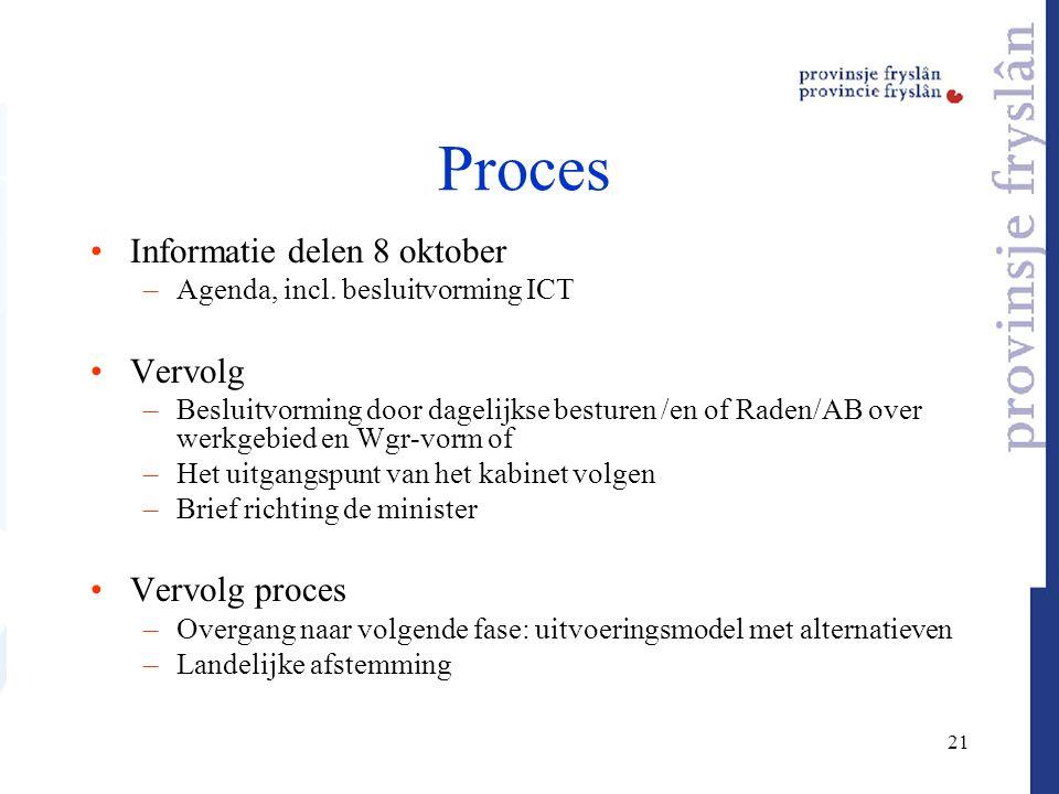 21 Proces Informatie delen 8 oktober –Agenda, incl. besluitvorming ICT Vervolg –Besluitvorming door dagelijkse besturen /en of Raden/AB over werkgebie