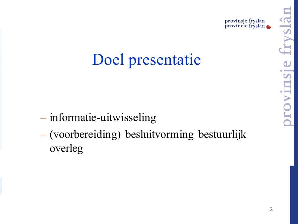 2 Doel presentatie –informatie-uitwisseling –(voorbereiding) besluitvorming bestuurlijk overleg