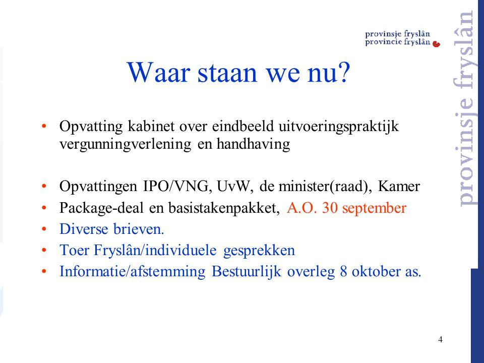 4 Waar staan we nu? Opvatting kabinet over eindbeeld uitvoeringspraktijk vergunningverlening en handhaving Opvattingen IPO/VNG, UvW, de minister(raad)
