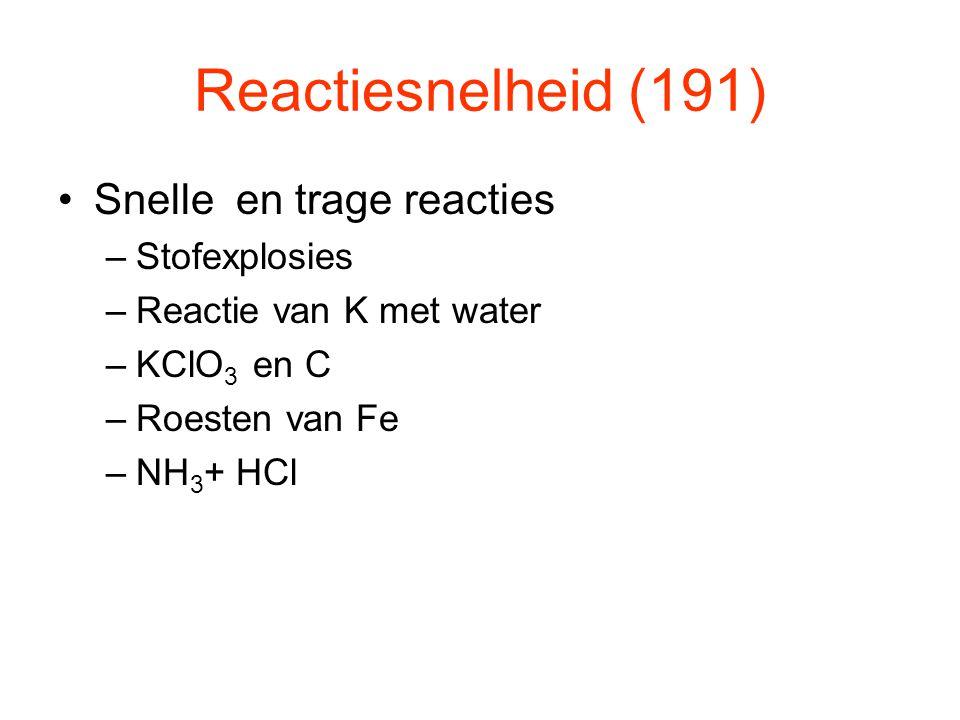 Reactiesnelheid (191) Snelle en trage reacties –Stofexplosies –Reactie van K met water –KClO 3 en C –Roesten van Fe –NH 3 + HCl