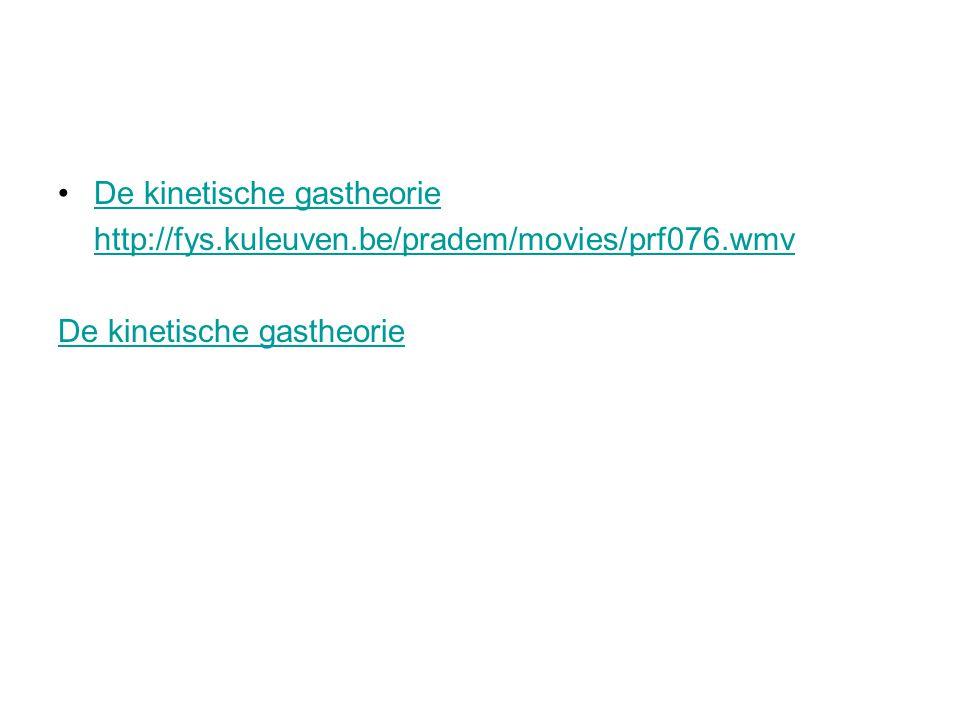De kinetische gastheorie http://fys.kuleuven.be/pradem/movies/prf076.wmv De kinetische gastheorie