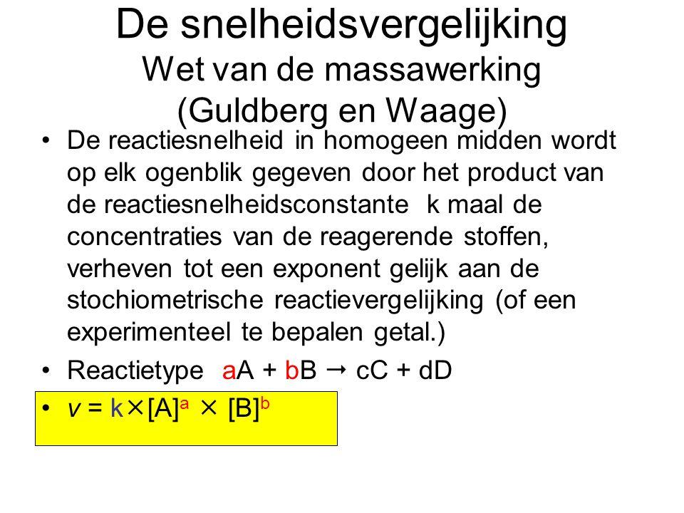 De snelheidsvergelijking Wet van de massawerking (Guldberg en Waage) De reactiesnelheid in homogeen midden wordt op elk ogenblik gegeven door het prod